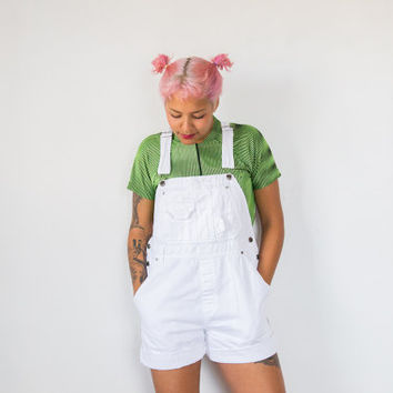 Women's 1990's Simple Staple White Jean Jumper Overall Shorts (Vintage)