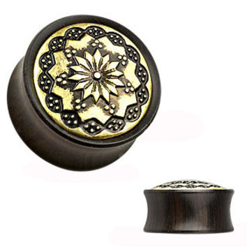 Krish Mandala Wood & Brass Inlay Plugs
