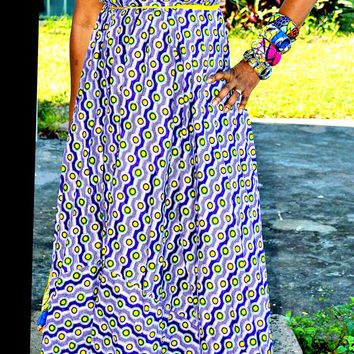 Purple African Fabric Maxi Dress, African Ankara Fabric Maxi Dress,Long Maxi Dress, African Maxi Dress. Chic Pink Geometric Print Dress