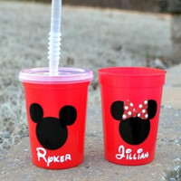 10 personalized Red Mickey Mouse or Minnie Mouse party favor cups