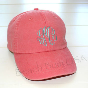 Ladies Monogram Baseball Hat Classic Master Circle Custom Embroidery