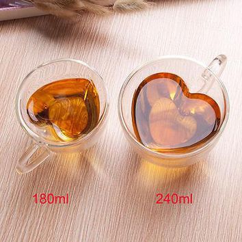 O.RoseLif 1PCS Heart Love Shaped Glass Double Wall coffee mug tea cup ceramic tazas cafe tumbler beer cups mugs birthday gifts
