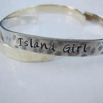 Island girl hand stamped silver bracelet cuff