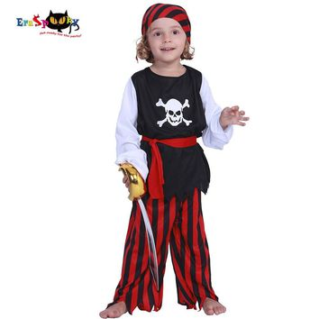 Cool Eraspooky Kids Carnival Costumes Cute Pirate Boys Jack Sparrow Cosplay Children Costume Skull Caribbean Fancy Dress For PartyAT_93_12
