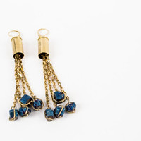 Raw Brass Bullet Earrings - Blue Titanium Crystal Dangles