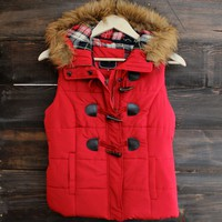 mountain slopes hooded puffer vest - red