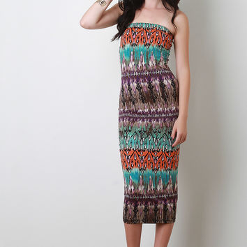 Plus Size Bohemian Print Midi Dress