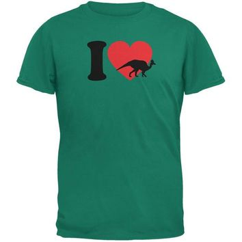 DCCKJY1 I Heart Love Carythosaurus Dinosaur Jurassic Jade Green Adult T-Shirt