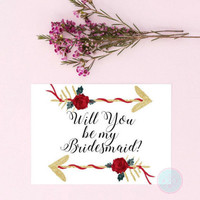 DIGITAL INVITE Will You Be My Bridesmaid Bridal Proposal Arrow Print Watercolor Roses Bridesmaid Invites Bridesmaid Invitation Shower Invite