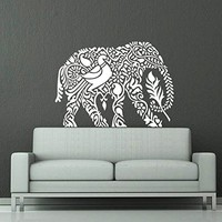 Wall Decal Elephant Vinyl Sticker Decals Lotus Indian Elephant Floral Patterns Mandala Tribal Buddha Ganesh Om Home Decor Bedroom Art Design Interior NS381
