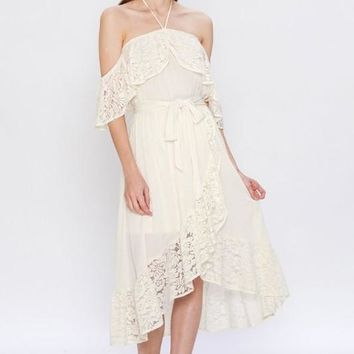 Lace Wrap Dress W/ Halter