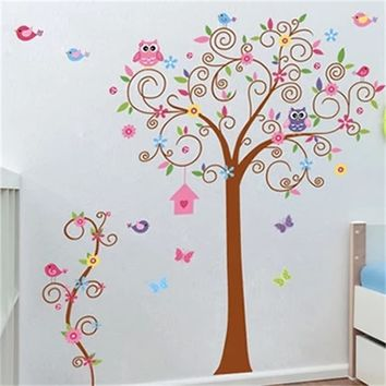 DIY PVC Removable Colorful Tree w/Owls & Flower Wall Decal