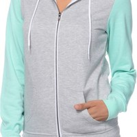 Zine Colorblock Heather Grey & Aruba Blue Zip Up Hoodie