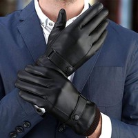 Women Men's Winter Warm Leather Fleece Lined Thermal Touch Screen Driving Gloves