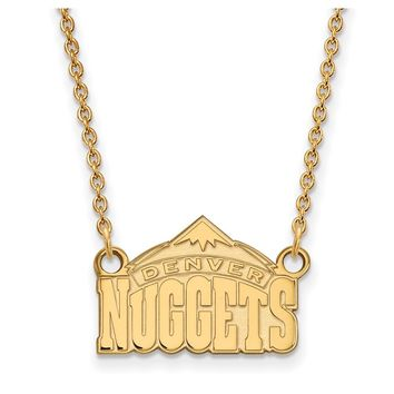 NBA 14k Gold Plated Silver Denver Nuggets Sm Pendant Necklace, 18 in