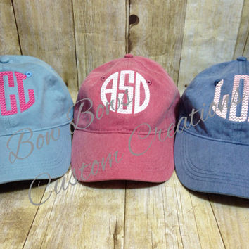 monogrammed baseball caps etsy preppy monogram hat pigment dyed cap with without patch personalized initials hats diy