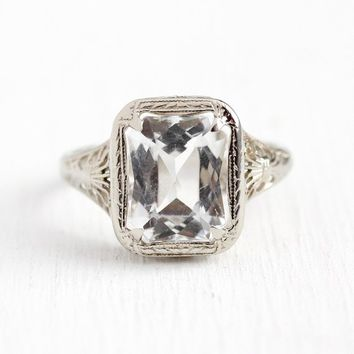 Vintage Aquamarine Ring - Art Deco 14k White Gold Filigree Icy Light Blue 3 Carat Genuine Gem - 1920s Size 5 March Birthstone Fine Jewelry