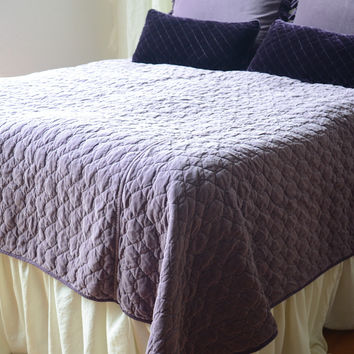 Velvet Quilted Queen Coverlet with Satin Back in AMETHYST