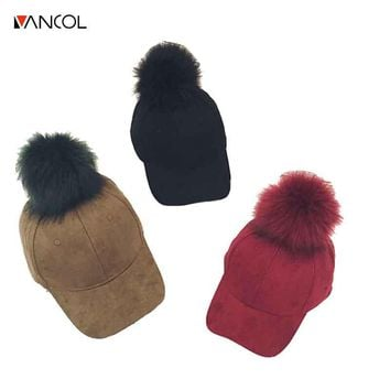 Vancol 2016 Candy Color Fashion Women Suede Hat With Fur Pom Pom Ball Cap Girl Famale Autumn Hats Leather Baseball Winter Cap