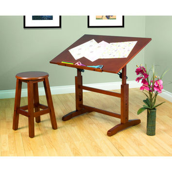 Creative Drawing Table and Stool Set (Walnut) (28-44.25H x 36.00W x 24.00D)