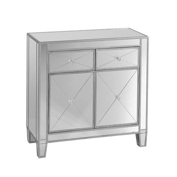 Mirrored Storage Cabinet With 2 Drawers and 2 Doors, Silver & Clear