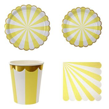 Hot! Gold Stripes Tableware Set of Plate Cup Napkin Lemon Yellow Tableware Set For Birthday Baby Shower Nursery Kid Party Decor