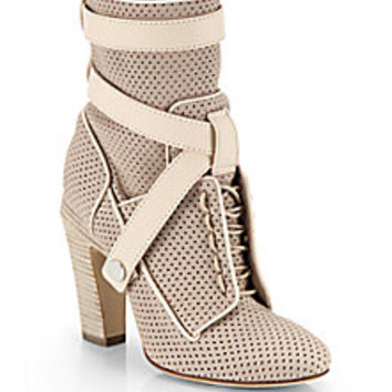 Fendi - Perforated Lace-Up Leather Ankle Boots - Saks Fifth Avenue Mobile