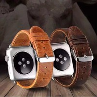 CRESTED genuine leather band for apple watch band 42mm 38mm crazy horse leather strap  classic metal clasp men watch Accessories