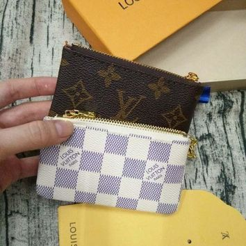 ONETOW LV Louis Vuitton Monogram Canvas PU Small Coin Purse Key Pouch