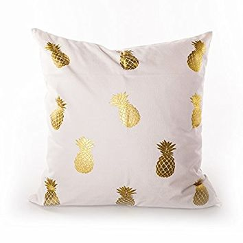 Sugar home Gold Foil pineapple Print Decorative Throw Pillow COVER 18""