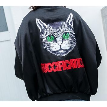 Gucci Fashion Spring Summer Loose Thin Silks And Satins Surface Sequins Letter Cat Print Long Sleeve Zipper Coat Jacket Baseball Uniform Black