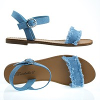 Kylee18 Blue Denim By Breckelle's, Flat Jean Sandal w Torn / Frayed Edge Trimming & Adjustable Ankle Strap