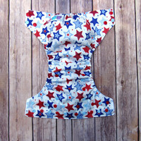 Cloth Pocket Diaper -  Patriotic Cloth Diaper - 4th of July Stars - Red White Blue American - One Size Diaper - Gender Neutral Cloth