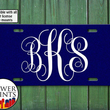 Fancy Monogram Initials Mono Navy Blue Curly Tumblr Inspired Cursive Cute Accessory Front License Plate Car Tag Vehicle Custom