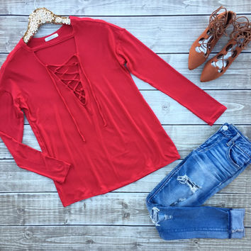 Red Lace up Top