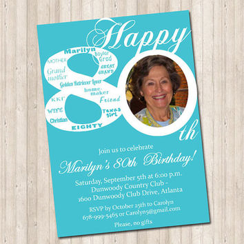 80th Birthday Invitation with picture (can do any age)