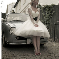 2016 Sheer Long Sleeves Lace Short Wedding Dresses A Line Vestidos De Novia Sweetheart Short Bride Gowns With Black Sashes Bow