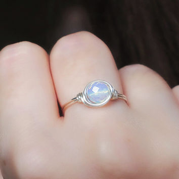 Opalite Moonstone Ring - unique ring - cute ring