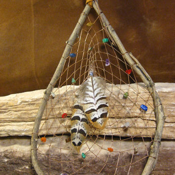 Natural Dream Catcher Native American Woven with Gemstones Handmade from The Hidden Meadow