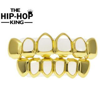 ac PEAPO2Q Gold Color Hiphop Teeth Grill Top & Bottom Grill Hip Hop Bling Hollow Vampire Teeth for Halloween Christmas Gift