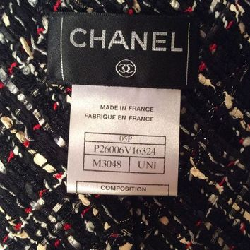 DCCKWA2 Authentic Chanel Fantasy tweed oversized tie/sash/scarf/05P