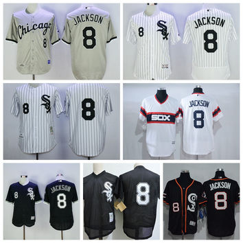 Throwback Chicago White Sox Shoeless 8 Joe Jackson Jersey Cool Base Joe Jackson Baseball Jerseys Retro Black 1993 Cooperstown Mesh Batting