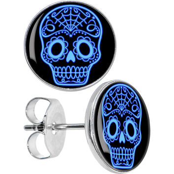 Black Blue Sugar Skull Art Stud Earrings
