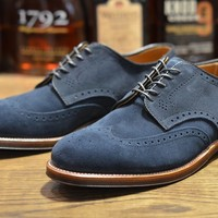 Alden Shoe – Navy Suede Shortwing (LSW)   Leather Soul
