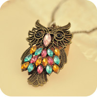 The retro the Color Diamonds owl necklace sweater chain [olala42] - $3.23 : Favorwe.com Supply all kinds of cheap fasion jewelry