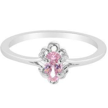 Rhodium Plated Solitaire Vintage Oval Pink Little Diva Girl Kids Ring