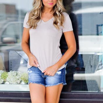 * Jamee V Neck Tee With Pocket : Taupe