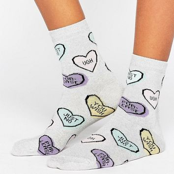 ASOS Anti Valentines Heart Socks at asos.com