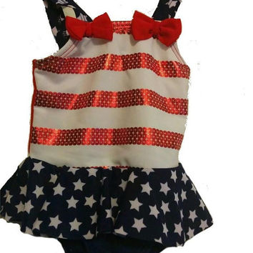 Baby Girl 0-3 Months Patriotic Red White and Blue Swimsuit