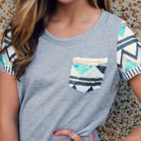 Material Girl Aztec Sequin Sleeve Top